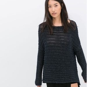 Zara Chunky Knit Navy Open Weave Sweater Small